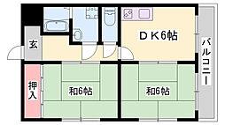 JR播但線 寺前駅 徒歩6分の賃貸マンション 2階2DKの間取り