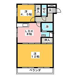 サンハイツ喜代住[4階]の間取り