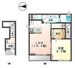 JR赤穂線 大多羅駅 徒歩32分の賃貸アパート 2階1LDKの間取り