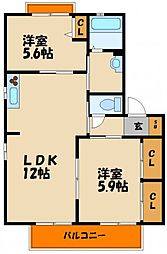 兵庫県神戸市西区小山1丁目の賃貸アパートの間取り