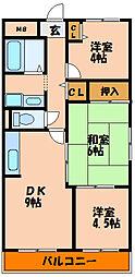 檜笠ハイツ[2階]の間取り