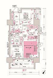 JR京浜東北・根岸線 大井町駅 徒歩3分の賃貸マンション 7階2LDKの間取り