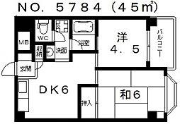 ハイツシャレード東館[7階]の間取り