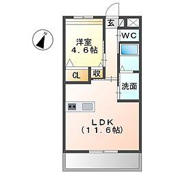 JR東海道本線 稲沢駅 徒歩8分の賃貸マンション 3階1LDKの間取り