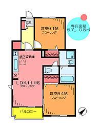 東京都足立区綾瀬6丁目の賃貸アパートの間取り
