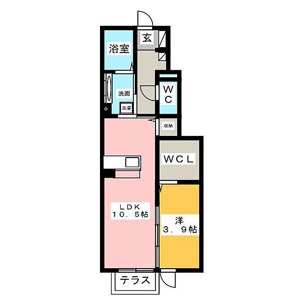 愛知県知立市牛田町宮本の賃貸アパートの間取り