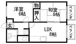 コスモハイツ岸田[202号室]の間取り