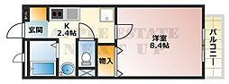大阪府東大阪市西堤1丁目の賃貸アパートの間取り