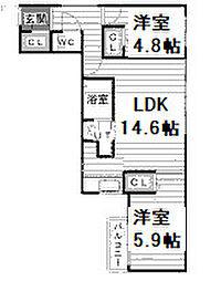 Consolatulle山鼻(コンソラチュールヤマハナ) 2階2LDKの間取り