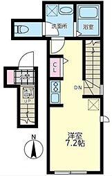 東急田園都市線 中央林間駅 徒歩9分の賃貸アパート 2階ワンルームの間取り