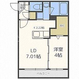 札幌市電2系統 西線11条駅 徒歩1分の賃貸マンション 2階1LDKの間取り