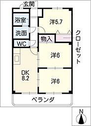 エクセルマンション[1階]の間取り