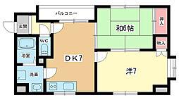 大阪府豊中市浜2丁目の賃貸マンションの間取り