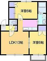 シティーハイム三條パークB棟[1階]の間取り