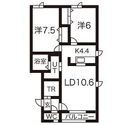 プリリアN45[3階]の間取り