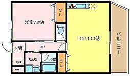 パルファン上野芝2[4階]の間取り
