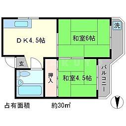 セントラル一乗寺[2階]の間取り