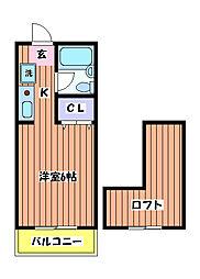 東京都立川市錦町1丁目の賃貸アパートの間取り