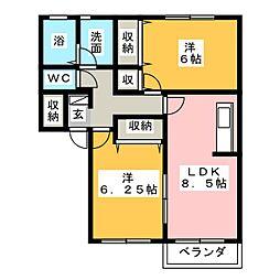 コーポラス板野 B棟[2階]の間取り