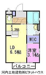 Yニシ3パナハイツ 2階1LDKの間取り