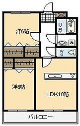 リージングマンション B棟[201号室]の間取り