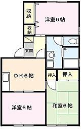 埼玉県さいたま市北区別所町の賃貸アパートの間取り
