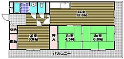 プレアール喜多 3階3LDKの間取り