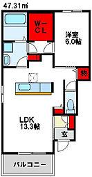 JR鹿児島本線 東郷駅 徒歩19分の賃貸アパート 1階1LDKの間取り