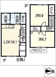 [タウンハウス] 愛知県豊田市小坂町4丁目 の賃貸【/】の間取り