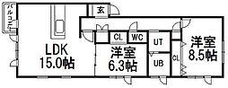 北海道札幌市手稲区西宮の沢四条4丁目の賃貸アパートの間取り