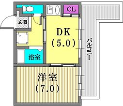 兵庫県神戸市中央区楠町2丁目の賃貸マンションの間取り