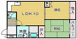 大阪府高槻市野田4丁目の賃貸マンションの間取り