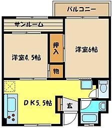 兵庫県神戸市東灘区魚崎中町1丁目の賃貸マンションの間取り