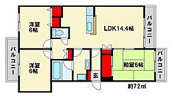 福岡県春日市須玖南3丁目の賃貸マンションの間取り