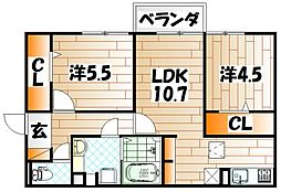 仮)D-room朽網東II[1階]の間取り