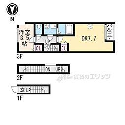 京阪本線 龍谷大前深草駅 徒歩8分の賃貸アパート 3階1LDKの間取り