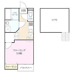 クレオ筥松[2階]の間取り