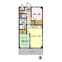 エスポワール御堂島[2階]の間取り