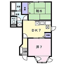 滋賀県湖南市平松北2丁目の賃貸アパートの間取り