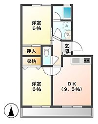 ハイツ秋桜[1階]の間取り