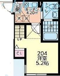 小田急江ノ島線 鶴間駅 徒歩10分の賃貸アパート 2階1Kの間取り