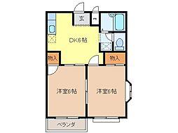 静岡県富士市国久保1丁目の賃貸アパートの間取り