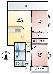 樽見鉄道 本巣駅 4.2kmの賃貸アパート 1階2LDKの間取り