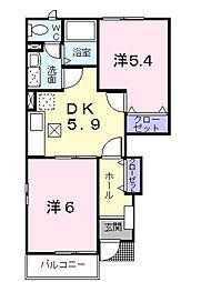 ウィスタリア・ハウス A[1階]の間取り
