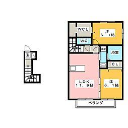 ソレイユ B棟[2階]の間取り