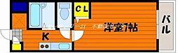 JR山陽本線 西川原駅 徒歩5分の賃貸マンション 3階1Kの間取り