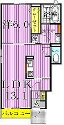 シャ ブルー[1階]の間取り