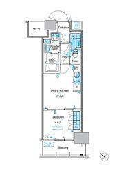 パークアクシス豊洲キャナル 17階1DKの間取り