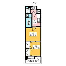 福岡県福岡市博多区博多駅南1丁目の賃貸マンションの間取り