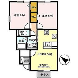 ハイツ ラポルテA棟・B棟[1階]の間取り